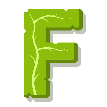 Letter F, green leaves summer vector alphabet. The simple of letter F green color. Isolated illustration on white background. Illustration
