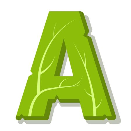 Letter A, green leaves summer vector alphabet. The simple of letter A green color. Isolated illustration on white background. Illustration