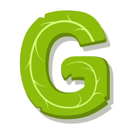 Letter G, green leaves summer vector alphabet. The simple of letter G green color. Isolated illustration on white background.