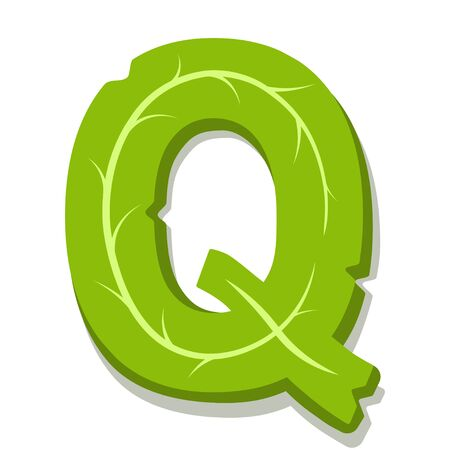Letter Q, green leaves summer vector alphabet. The simple logo of letter Q green color. Isolated illustration on white background.