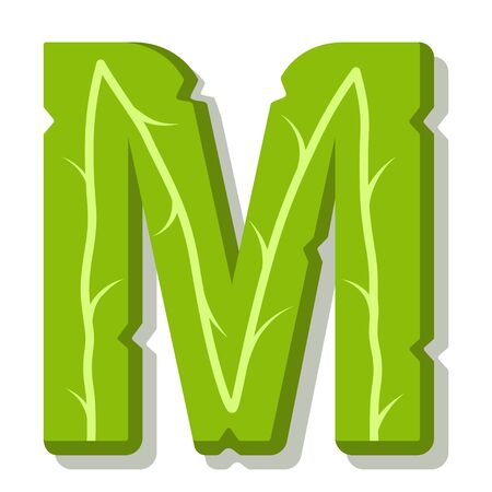 Letter M, green leaves summer vector alphabet. The simple logo of letter M green color. Isolated illustration on white background.