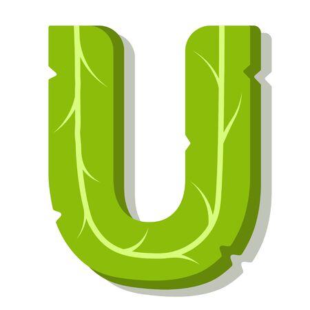 Letter U, green leaves summer vector alphabet. The simple logo of letter U green color. Isolated illustration on white background. Illustration