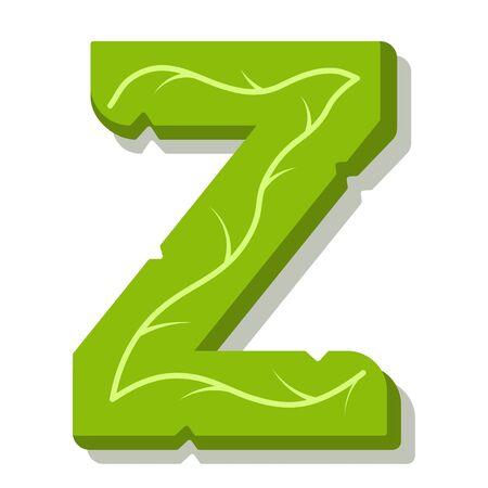 Letter Z, green leaves summer vector alphabet. The simple  of letter Z green color. Isolated illustration on white background.