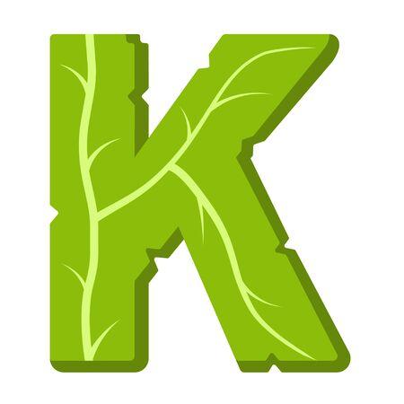 Letter K, green leaves summer vector alphabet. The simple logo of letter K green color. Isolated illustration on white background. 向量圖像