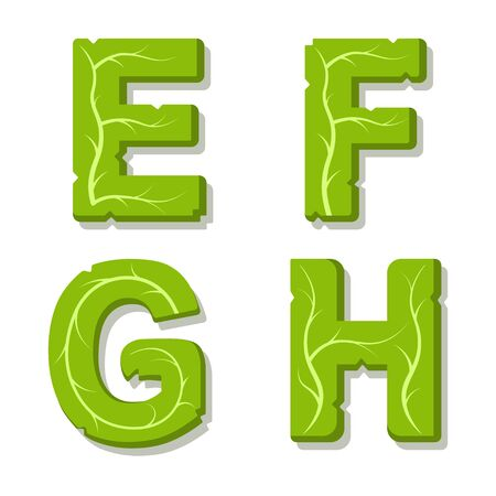 Vector green eco alphabet. Perfectly suited for healthy restaurants and green brands, like vegan places, cooking website, veggie recipes blog. Font for t-shirts and cards. Isolated illustration.