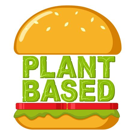 A beyond delicious plant based non meat cheeseburger. Isolated vector illustration on white background.