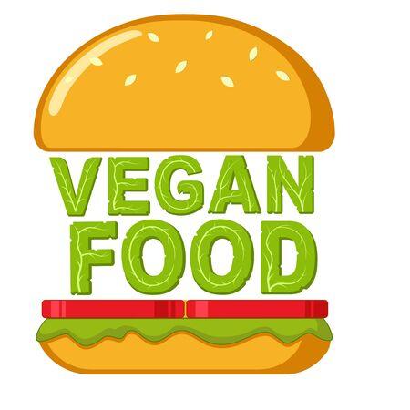 Vegan food. Healthy burger made from organic green ingredients. Vegan burger logo design idea. Isolated vector illustration on white background. Illustration