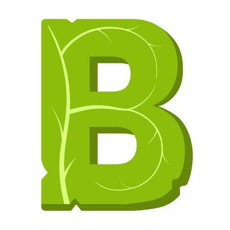 Letter B, green leaves summer vector alphabet. The simple logo of letter B green color. Isolated illustration on white background.