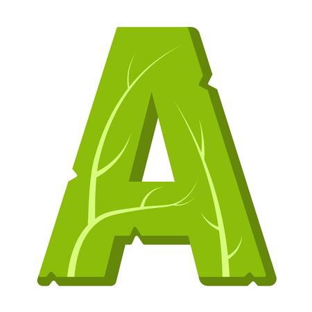 Letter A, green leaves summer vector alphabet. The simple logo of letter A green color. Isolated illustration on white background.