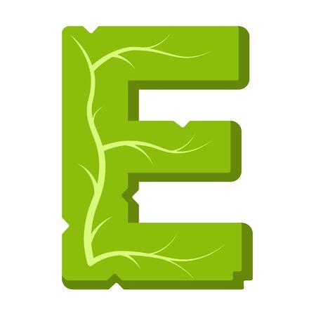 Letter E, green leaves summer vector alphabet. The simple logo of letter E green color. Isolated illustration on white background.