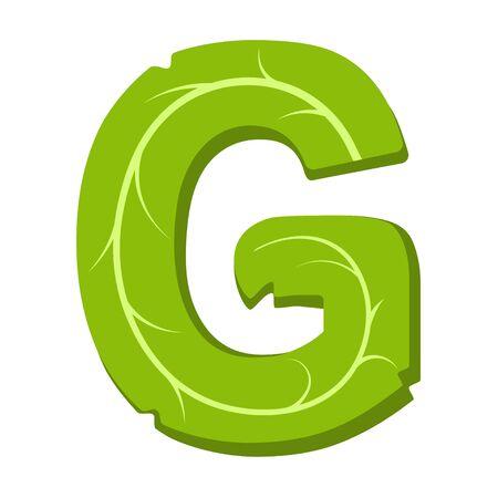 Letter G, green leaves summer vector alphabet. The simple logo of letter G green color. Isolated illustration on white background.