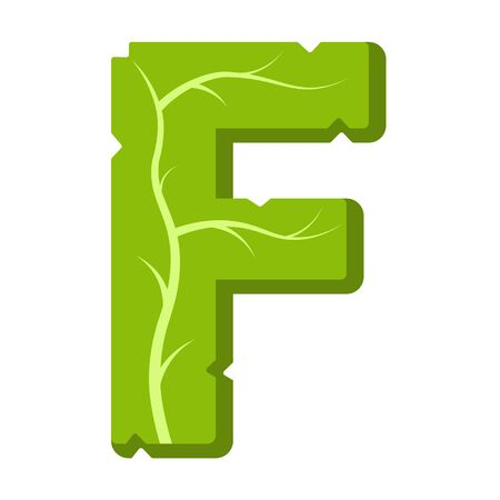 Letter F, green leaves summer vector alphabet. The simple logo of letter F green color. Isolated illustration on white background.