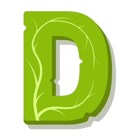 Letter D, green leaves summer vector alphabet. The simple logo of letter D green color. Isolated illustration on white background. Illustration