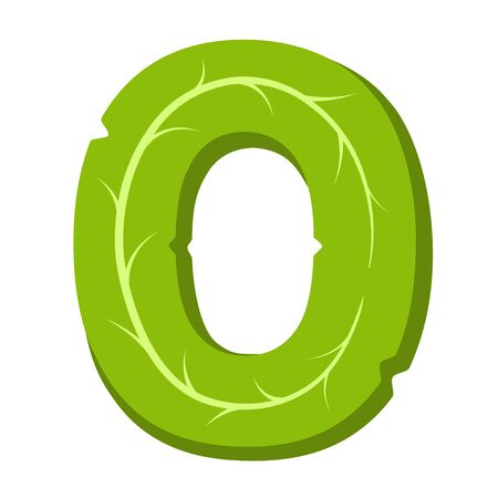 Letter O, green leaves summer vector alphabet. The simple logo of letter O green color. Isolated illustration on white background.