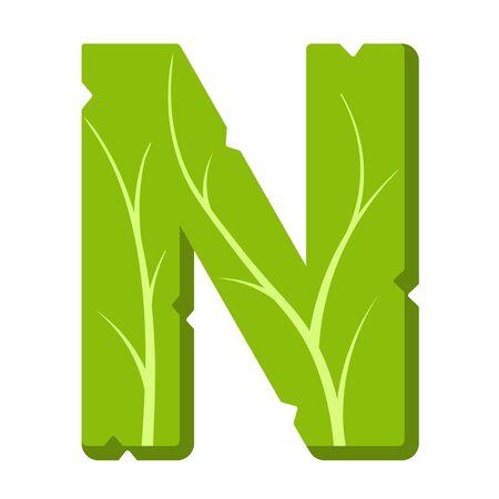 Letter N, green leaves summer vector alphabet. The simple logo of letter N green color. Isolated illustration on white background.