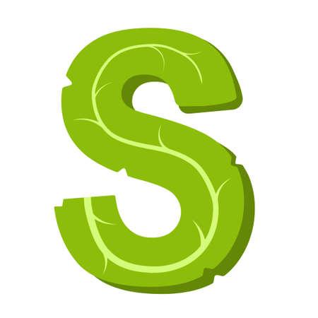 Letter S, green leaves summer alphabet isolated on white background.