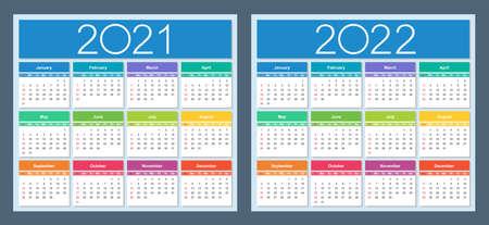 Calendar 2021, 2022. Colorful set. Week starts on Sunday. Isolated vector illustration.