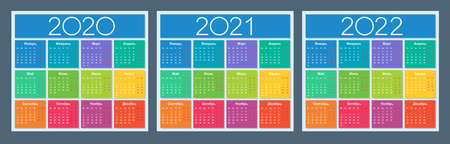 Calendar 2020 2021 2022. Colorful set. Russian language. Week starts on Monday. Saturday and Sunday highlighted. Isolated vector illustration.