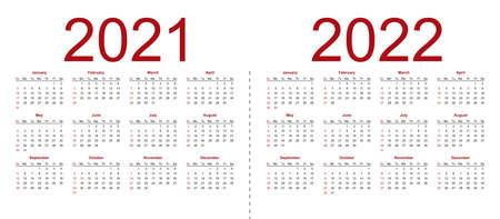 Set of minimalist calendars, years 2021 2022, weeks start Sunday. Isolated vector illustration on white background.