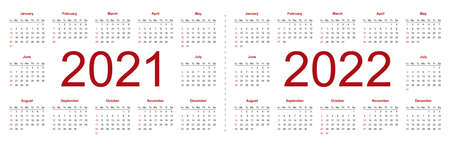 Simple editable vector calendars for year 2021, 2022. Week starts from Sunday. Isolated vector illustration on white background.