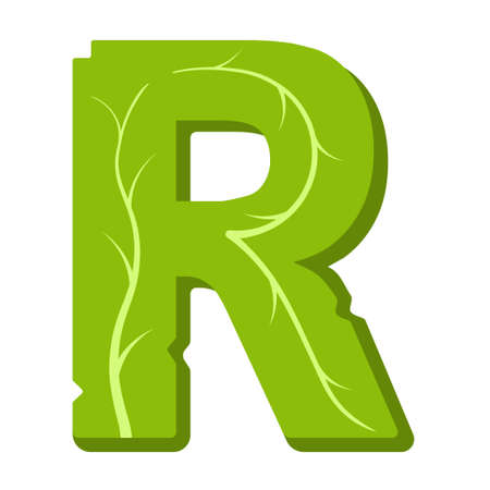 Letter R, green leaves summer vector alphabet. The simple logo of letter R green color. Isolated illustration on white background.