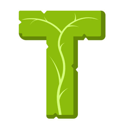 Letter T, green leaves summer vector alphabet. The simple logo of letter T green color. Isolated illustration on white background. 向量圖像