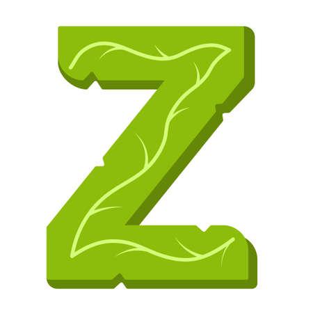 Letter Z, green leaves summer vector alphabet. The simple logo of letter Z green color. Isolated illustration on white background.