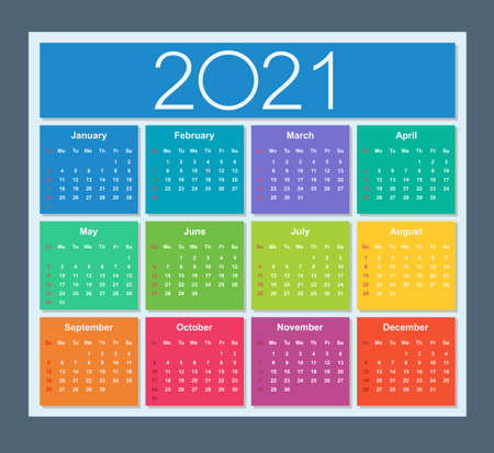 Colorful year 2021 calendar. Week starts on Sunday. Isolated vector illustration.