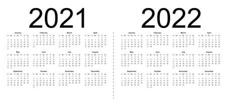 Calendar 2021, 2022. Week starts from Sunday, business template. 向量圖像