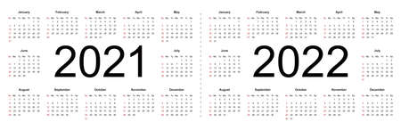 Simple calendar Layout for 2021 and 2022 years. Week starts from Sunday. Isolated vector illustration on white background. Illustration