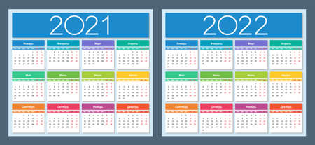 Calendar 2021, 2022. Colorful set. Russian language. Week starts on Monday. Saturday and Sunday highlighted. Isolated vector illustration.