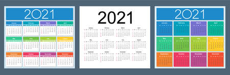 Calendar 2021 year. Colorful English set. Week starts on Sunday. Vector template collection. Basic grid. Isolated illustration.
