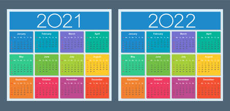 Colorful calendar for 2021 and 2022 years. Week starts on Sunday. Isolated vector illustration.
