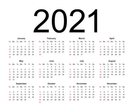 Calendar 2021. Week starts from Sunday, business template. Isolated vector illustration on white background.