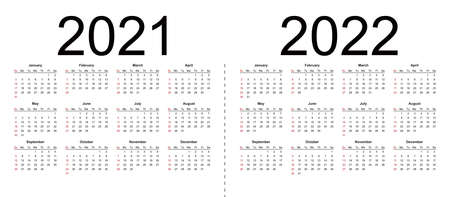 Simple editable vector calendars for year 2021 2022. Week starts from Sunday. Isolated vector illustration on white background.