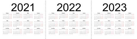 Set of russian 2021, 2022, 2023 year vector calendars. Week starts from Monday. Isolated vector illustration on white background. 向量圖像
