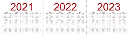 Set of minimalist calendars, years 2021 2022 2023, weeks start Sunday. Isolated vector illustration on white background. 向量圖像