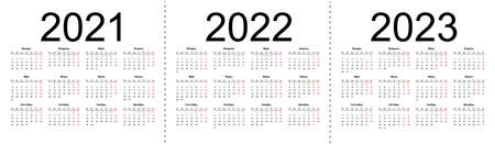 Calendar grid for 2021, 2022 and 2023 years. Simple horizontal template in Russian language. Isolated vector illustration on white background. 向量圖像