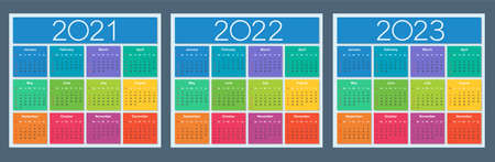 Colorful calendar for 2021, 2022 and 2023 years. Week starts on Sunday. Isolated vector illustration.