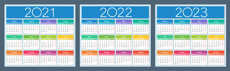 Calendar 2021, 2022, 2023. Colorful set. Russian language. Week starts on Monday. Saturday and Sunday highlighted. Isolated vector illustration.
