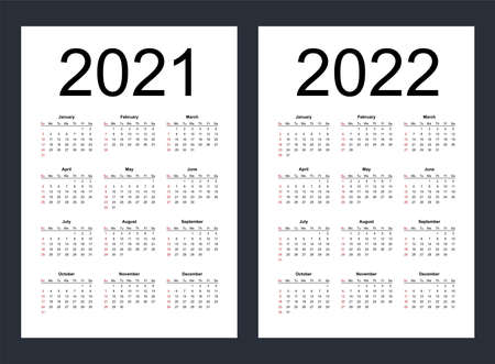 Simple editable vector calendars for year 2021, 2022. Week starts from Sunday. Vertical. Isolated vector illustration.
