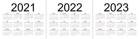 Simple calendar Layout for 2021, 2022 and 2023 years. Week starts from Sunday. Isolated vector illustration on white background.