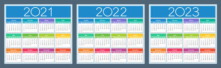 Calendar 2021, 2022, 2023. Colorful set. Week starts on Sunday. Isolated vector illustration.