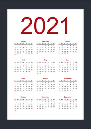 Calendar template for 2021 year. Week starts from Sunday. Vertical. Isolated vector illustration on white background.
