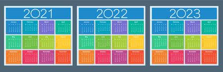 Calendar 2021 2022 2023. Colorful set. Week starts on Sunday. Isolated vector illustration.