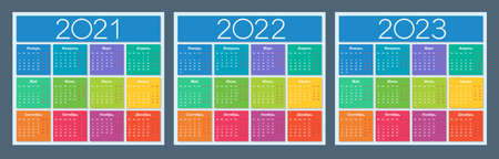 Colorful calendar for 2021, 2022 and 2023 years. Russian language. Week starts on Monday. Saturday and Sunday highlighted. Isolated vector illustration.