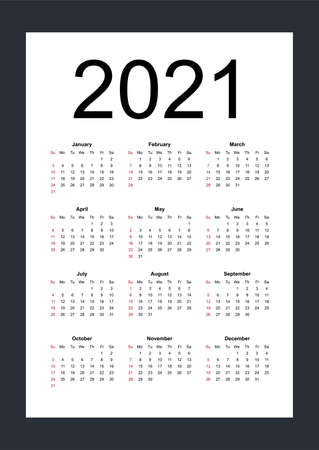 Simple editable vector calendar for year 2021. Week starts from Sunday. Vertical. Isolated vector illustration on white background. 向量圖像