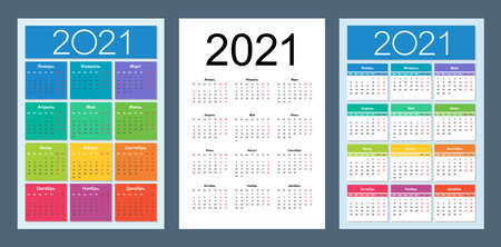 Calendar 2021. Russian language. Vertical calendar design template. Basic grid. Isolated vector illustration.