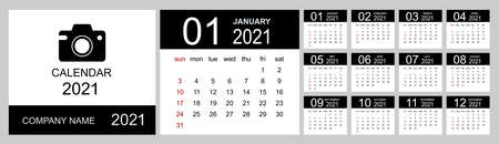 Calendar 2021 year. Simple Vector Template. Calendar design in black and white colors, holidays in red colors. Week Starts on Sunday. Vector illustration 向量圖像