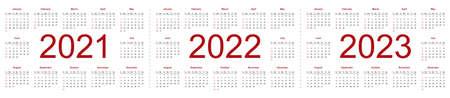 Set of minimalist calendars, years 2021, 2022, 2023, weeks start Sunday. Isolated vector illustration on white background.